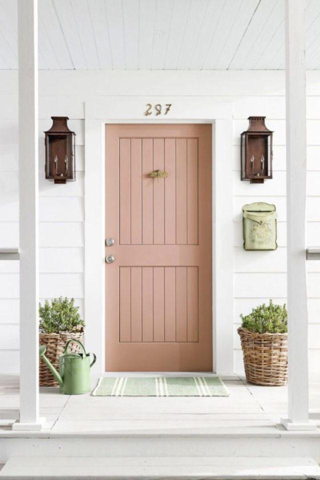 porte entree peinture rose exemple façade blanche pot de plante