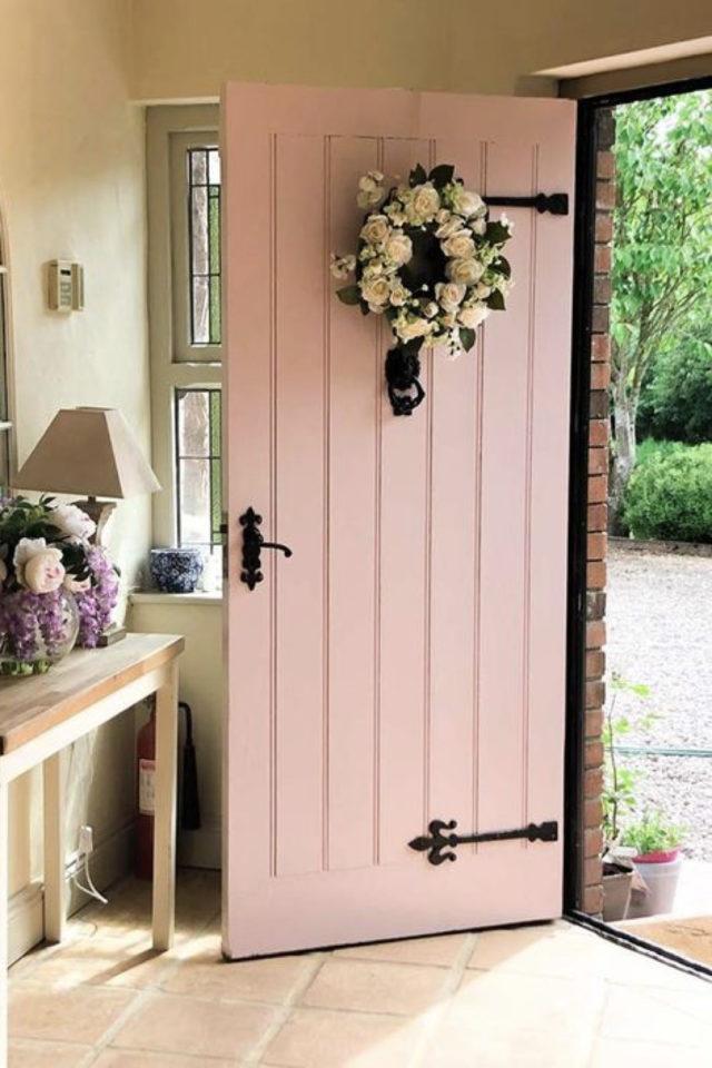porte entree peinture rose exemple inspiration façade