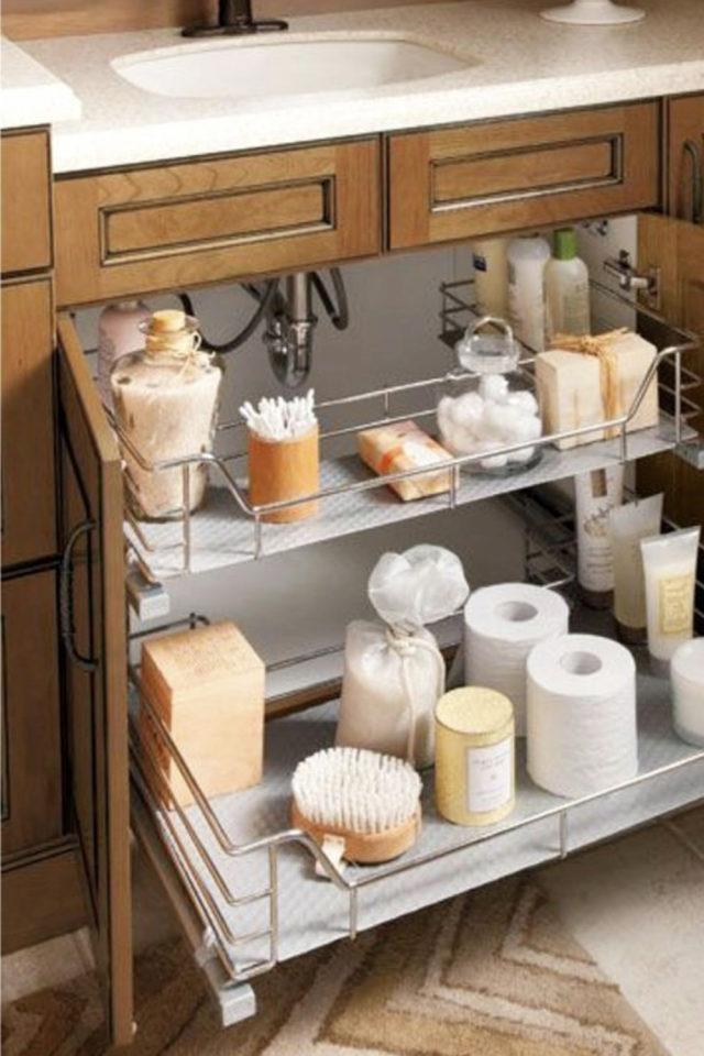 rangement meuble vasque organisation exemple tiroir coulissant adapté siphon