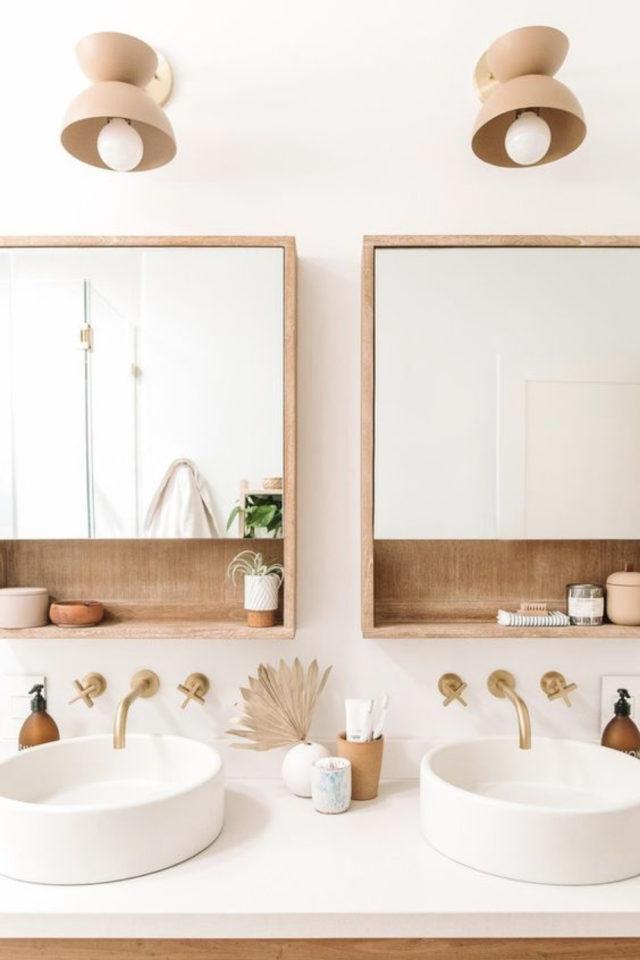 salle de bain moderne double miroir slow intérieur rectangle bois épuré slowliving