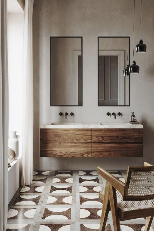 salle de bain moderne double miroir moderne grand format rectangulaire meuble vasque bois