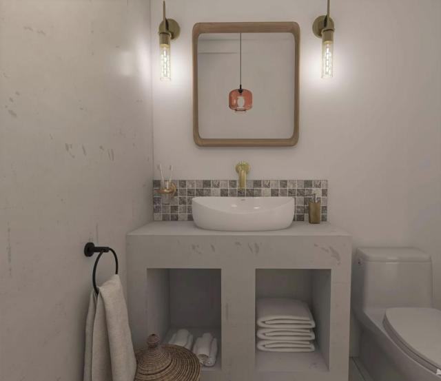 salle de bain moderne exemple meuble vasque en béton ciré crédence mosaïque