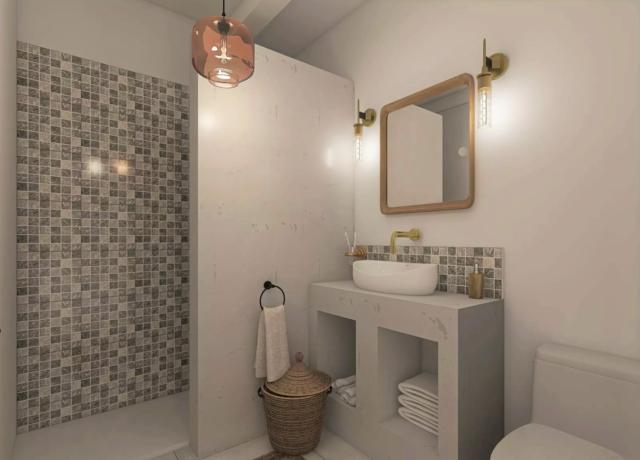 salle de bain moderne exemple douche carreaux ciment meuble vasque style Méditerranée