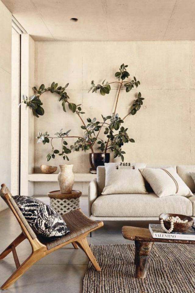 slow deco salon chaise cannage canapé beige greige plante XL inspiration