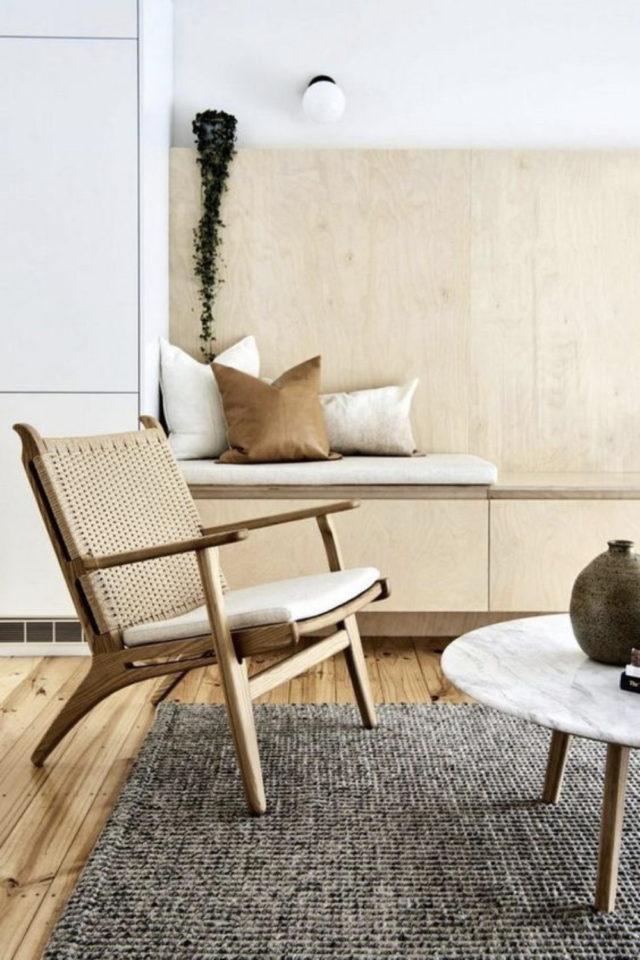 slow living fauteuil lounge salon séjour moderne bois matériaux naturels marbre