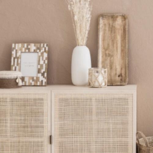 soldes decoration style slow photophore en verre et perles en bois