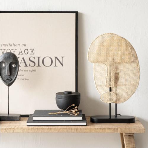 soldes decoration style slow lampe visage à poser tressée cannage