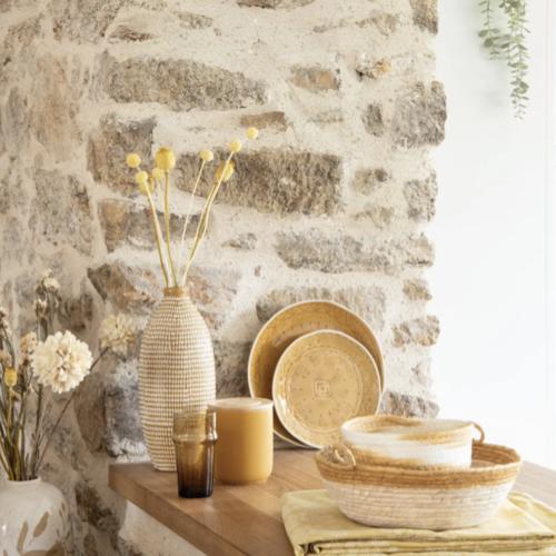 soldes decoration style slow petit panier naturel et blanc tressé