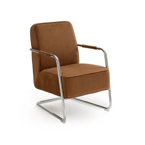 soldes ete deco mobilier maison la redoute fauteuil retro marron et structure inox