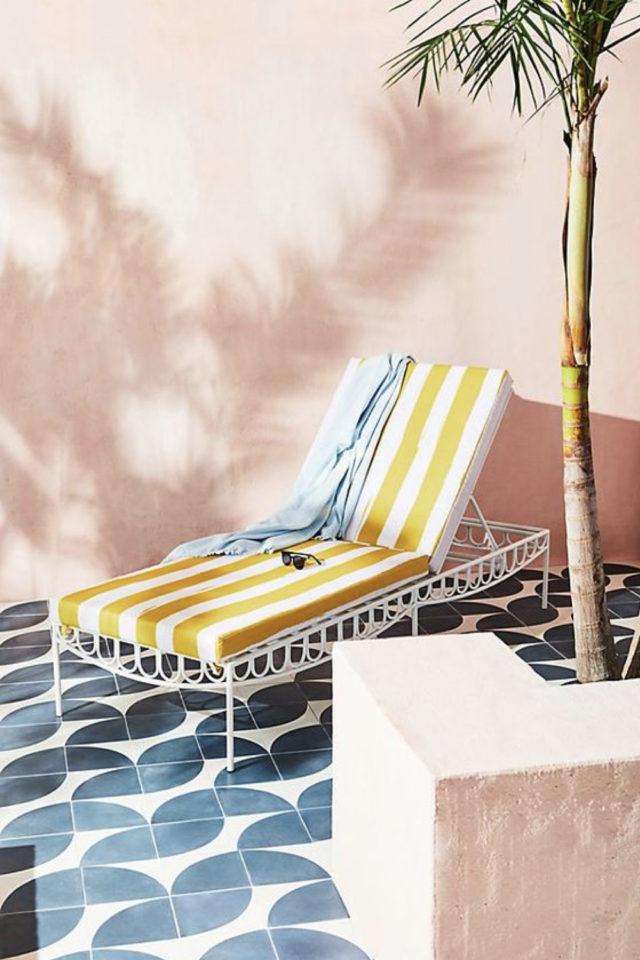 textile rayures style french riviera bain de soleil blanc et jaune