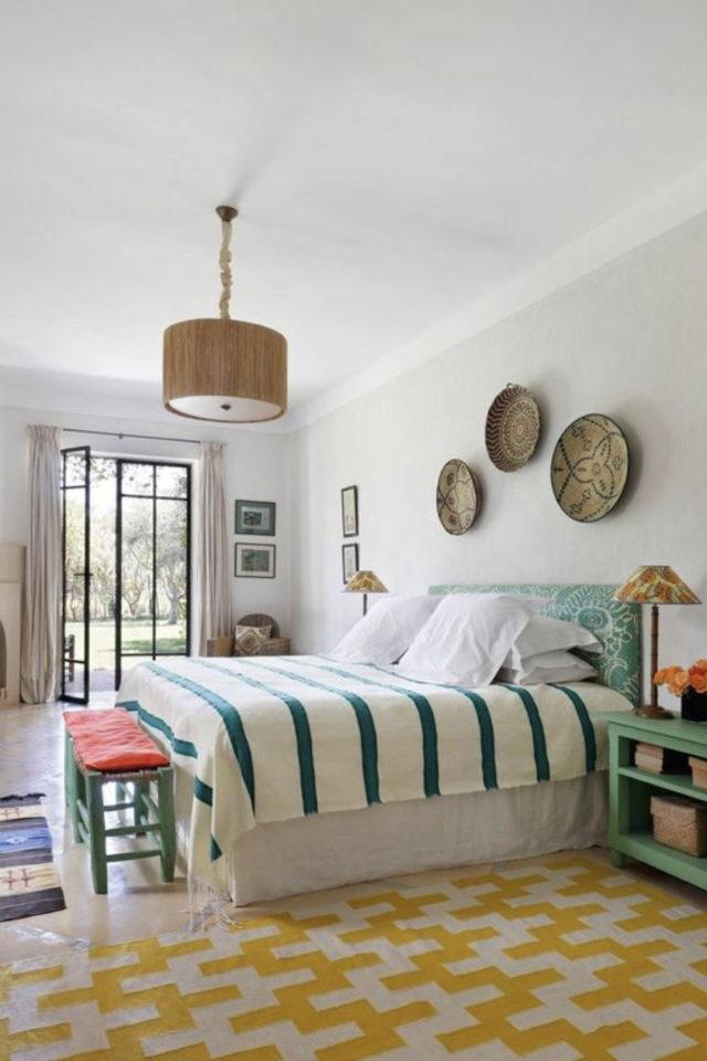 textile rayures style french riviera chambre à coucher bleu et blanc moderne