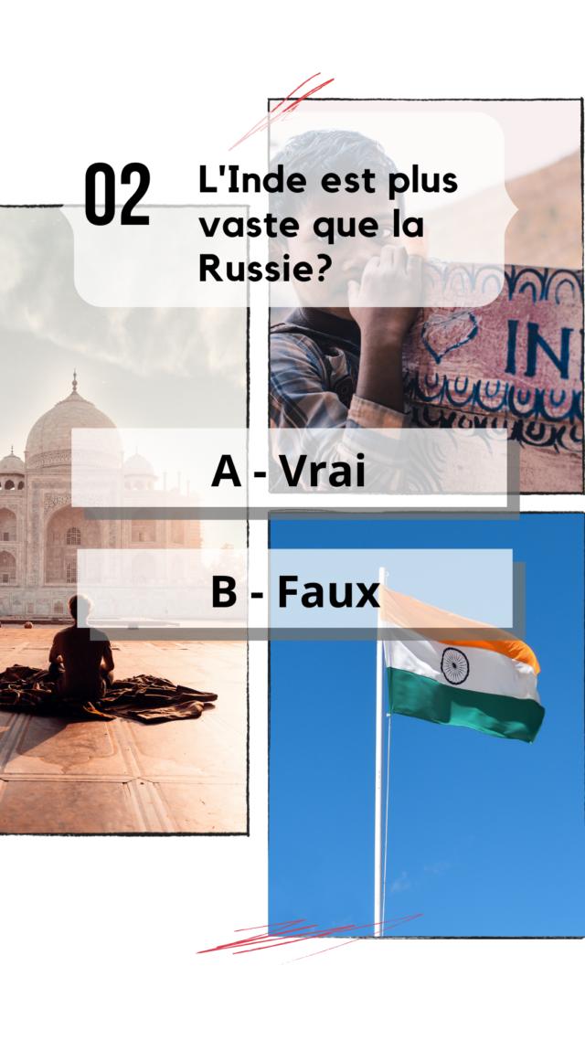 QCM Inde culture générale pays le plus grand au monde