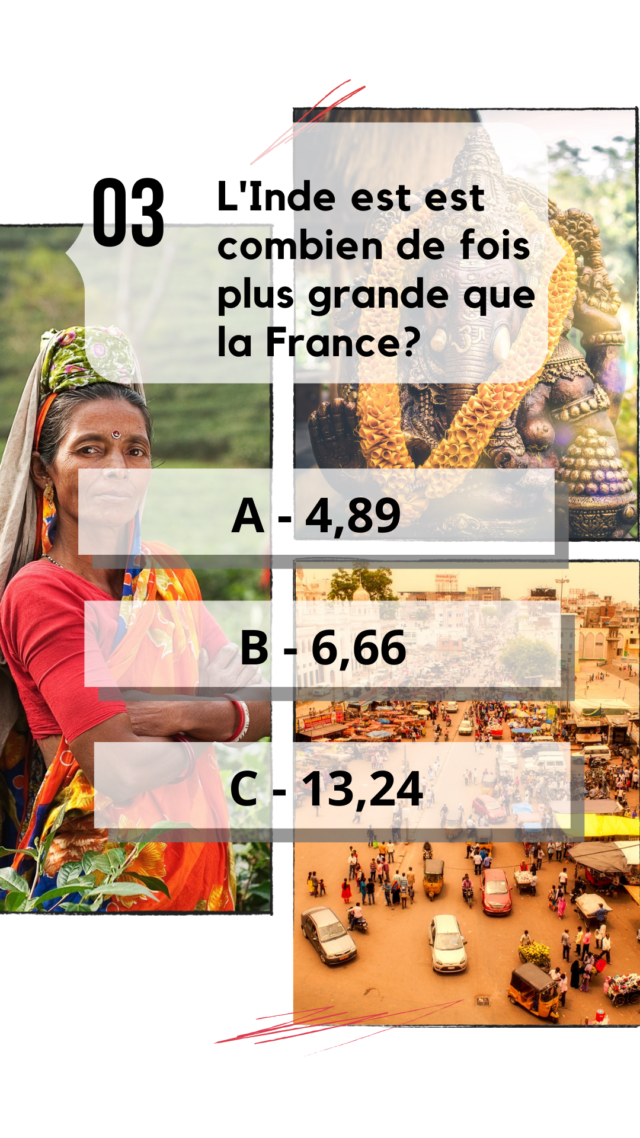 QCM Inde culture générale combien de fois plus grande que la France