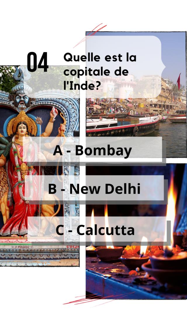 QCM Inde culture générale capitales indiennes