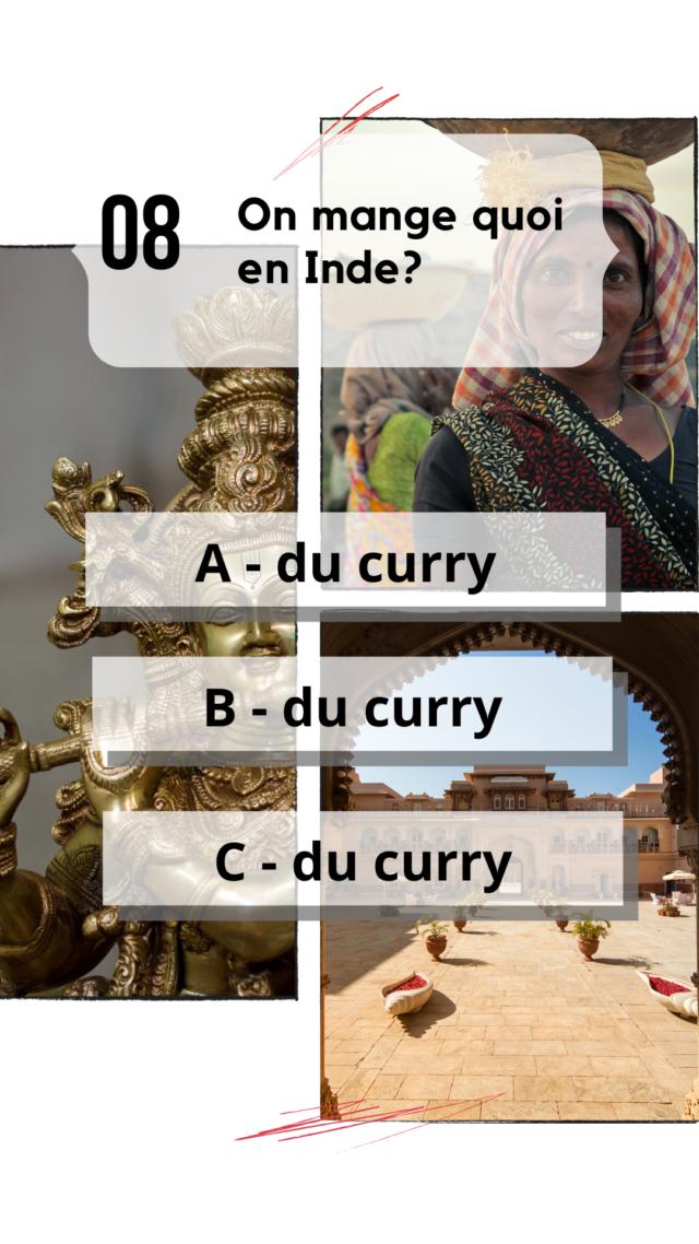 QCM Inde culture générale spécificité nourriture