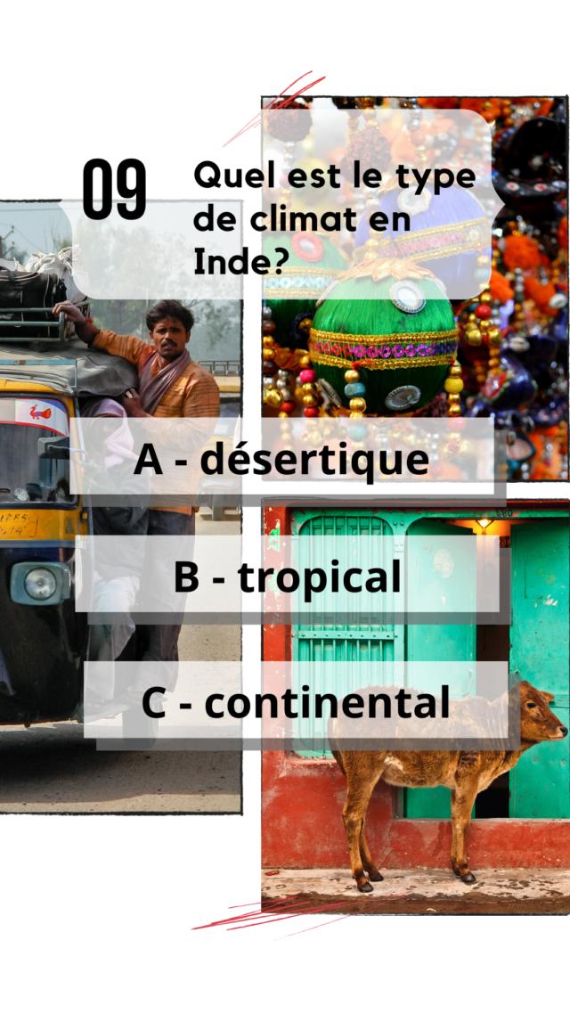 QCM Inde culture générale type de climat détail