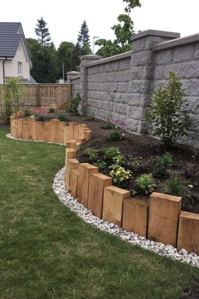 amenagement jardin a faire soi meme création de jardinière recup bois poutre