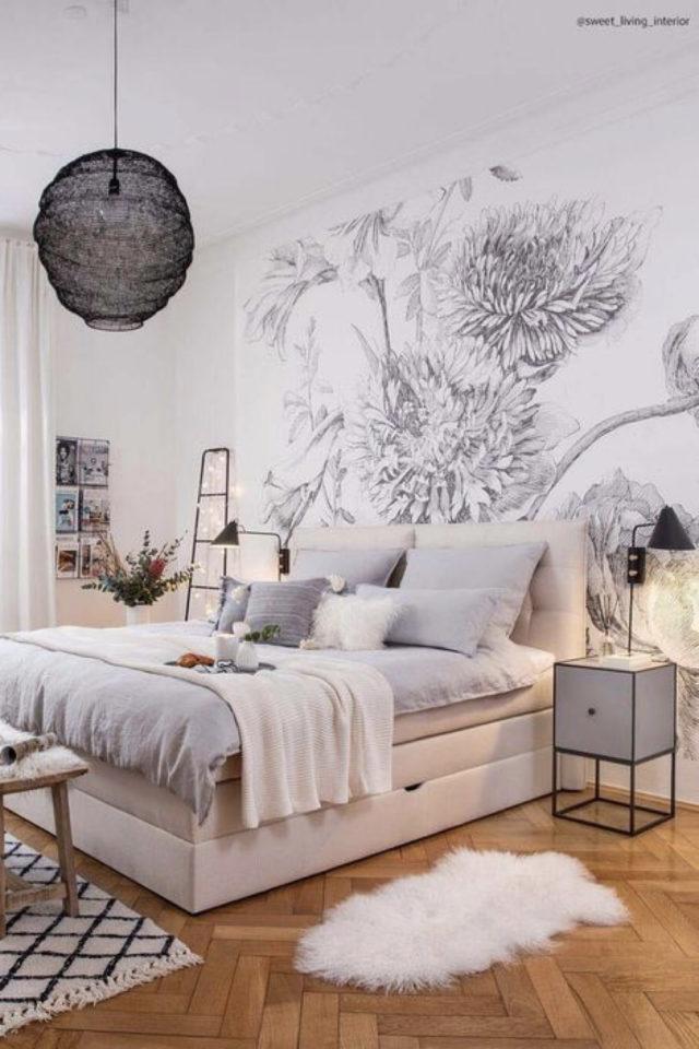 chambre douceur exemple decoration nuance de gris et blanc paier peint noir et blanc arbre nature ambiance claire et lumineuse