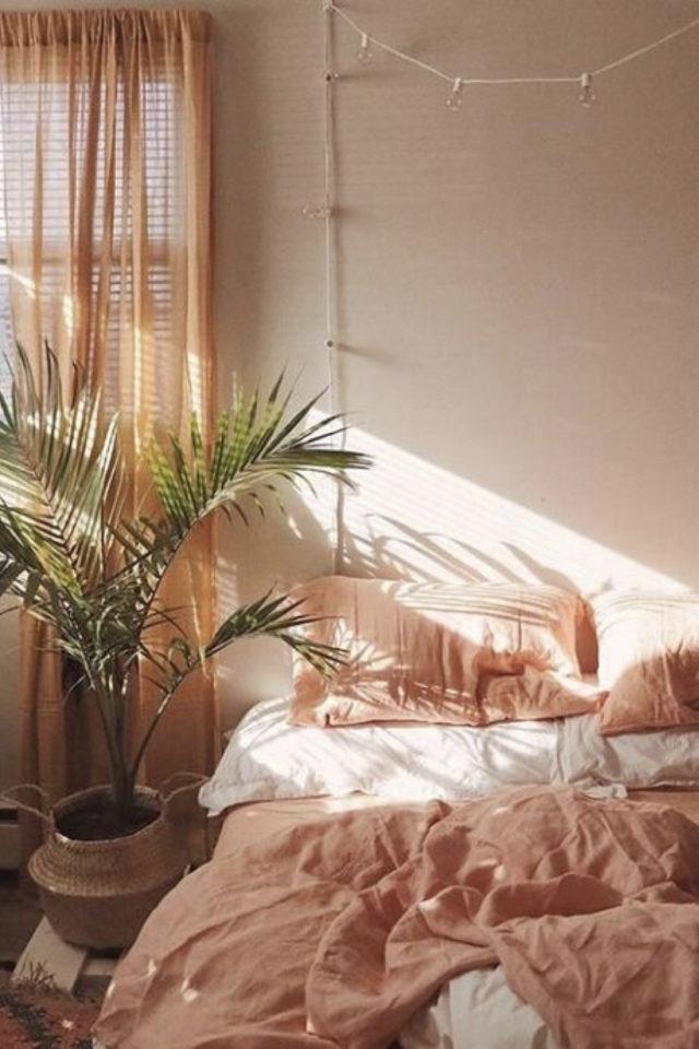chambre douceur exemple decoration couleur rose pastel suamon terracotta clair terre cuite