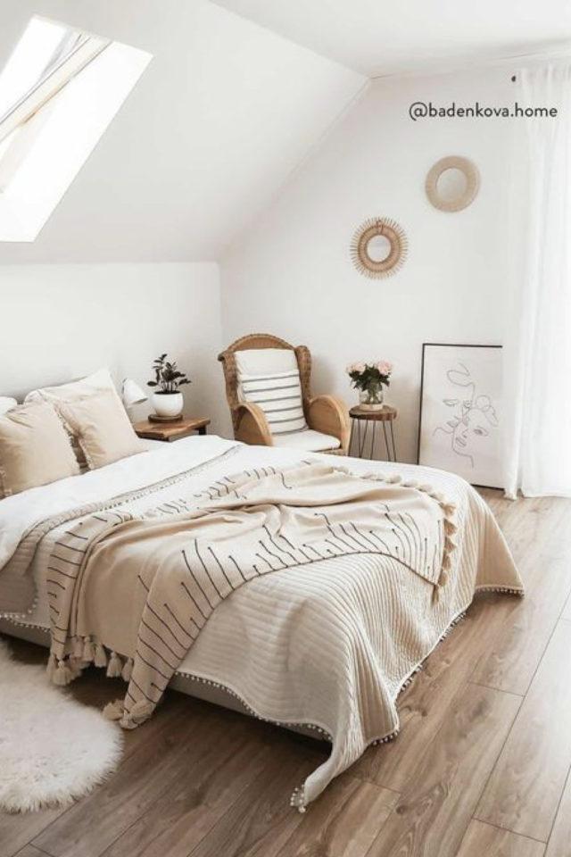 chambre douceur exemple decoration ambiance slow épurée blanc beige écru dessus de lit
