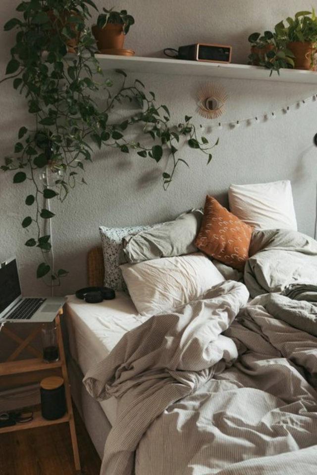 chambre douceur exemple decoration couleur vert sauge moderne plantes vertes murale nature