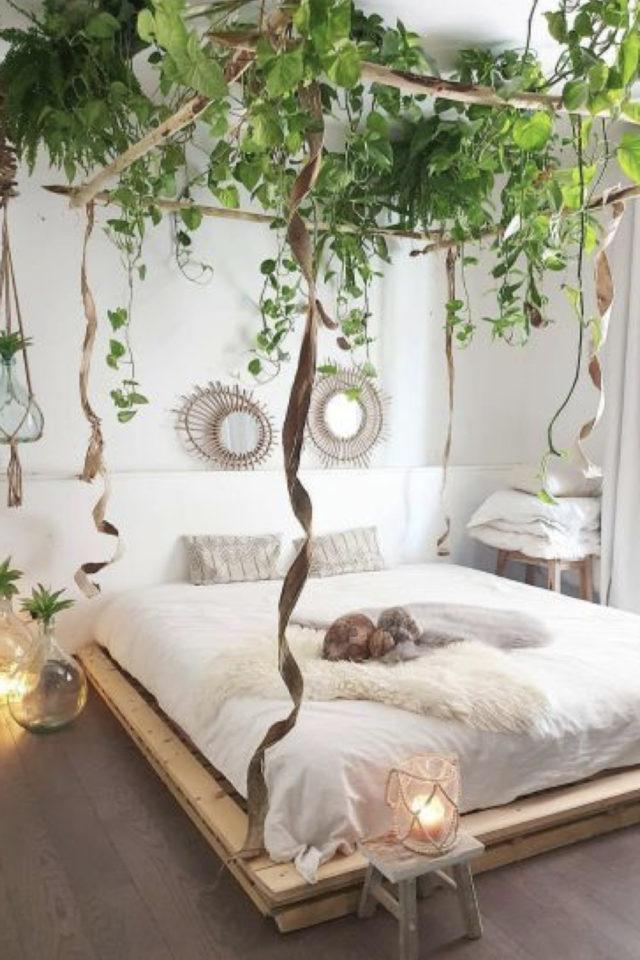 chambre fraicheur plantes exemple suspendues ciel de lit baldaquin moderne