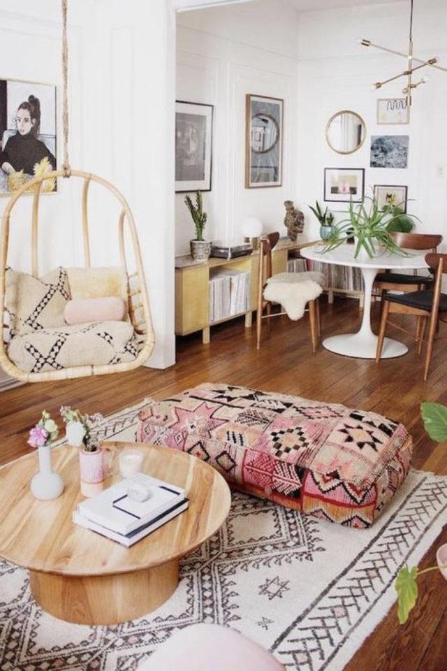 coussin de sol decoration salon moderne déco bohème chic pouf rectangulaire boho rouge passé