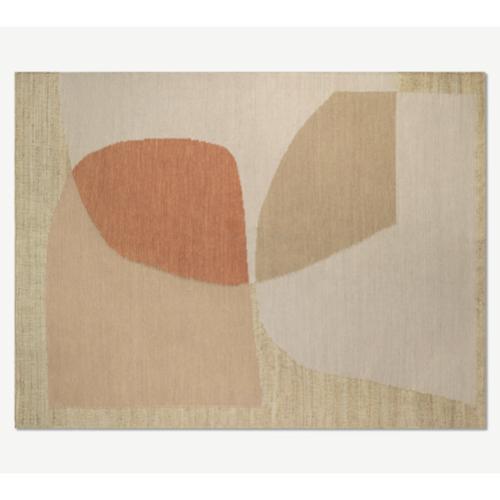 deco ete automne idee  grand tapis moderne beige terracotta