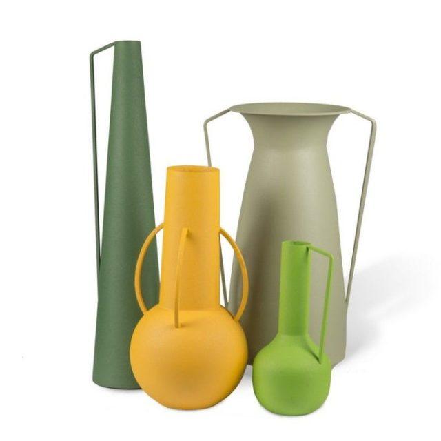 deco interieur ete automne lot de 4 vases jaune vert modernes