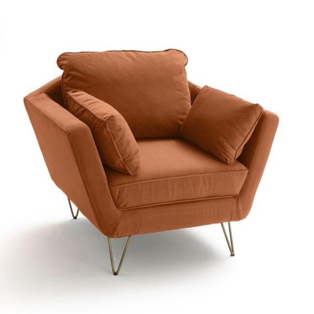 deco interieur ete automne fauteuil une place salon moderne couleur tabac rouille