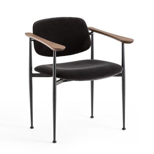 deco responsable durable petit prix Fauteuil de table gris tonnerre noir bois élégant