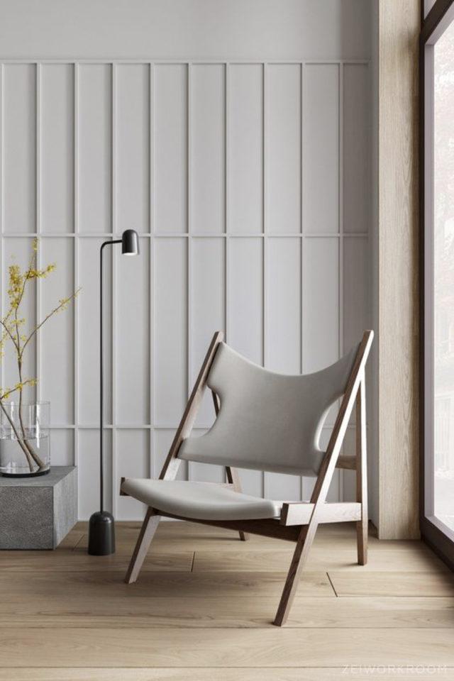decor mural blanc exemple facile à faire tasseaux rectangulaire ton sur ton