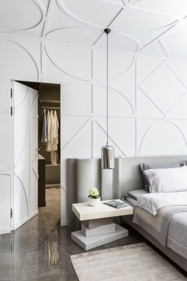 decor mural blanc exemple ton sur ton chambre à coucher gris
