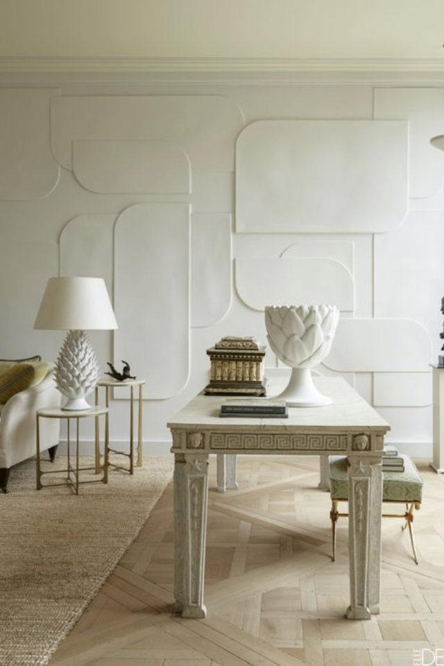 decor mural blanc exemple motif rétro ton sur ton épuré discret