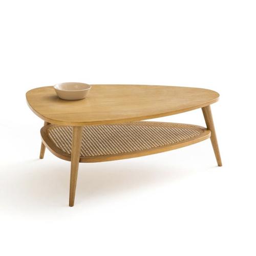 decoration cosy naturelle moderne Table basse vintage chêne et cannage