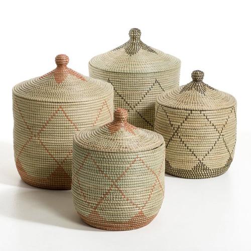 decoration cosy naturelle moderne Panier paille de riz grand modèle h60 cm