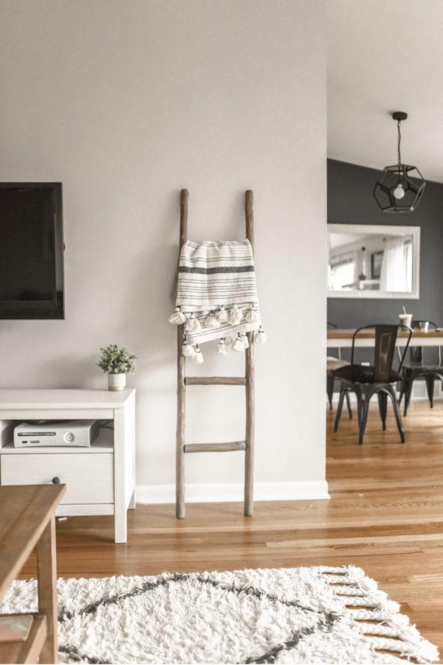 interieur slow design petit budget meuble télé blanc ambiance moderne scandinave échelle décorative