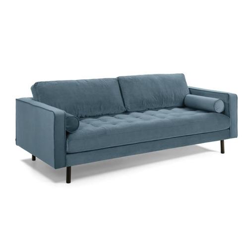 meuble style masculin en soldes Canapé Debra 3 places 220 cm Velours bleu turquoise kave homa