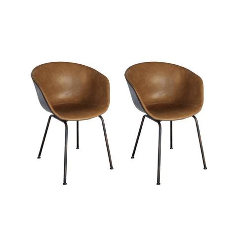 meuble style masculin en soldes Lot 2 chaises simili cuir rétroSHELBY