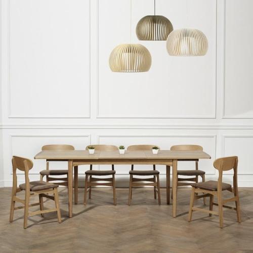 meuble style masculin en soldes Table à rallonges chêne, vintage, 160 à 220 cm, DALHIA robin des bois 10 personnes