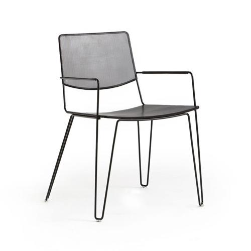 meuble style masculin en soldes  Fauteuil de table métal perforé - AMPM
