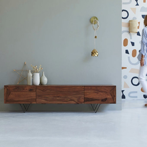 meuble style masculin en soldes Meuble TV en bois de Palissandre massif - Tikamoon