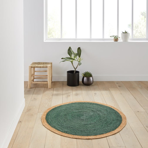 pas cher mobilier decoration couleur Tapis rond en jute colorée naturel eucalyptus vert