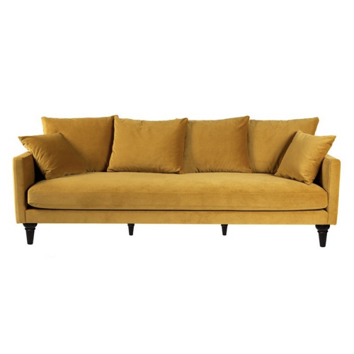 pas cher mobilier decoration couleur Canapé 4 places en velours pieds tourné jaune moutarde