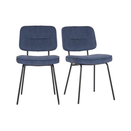 pas cher mobilier decoration couleur Set de 2 chaises moderne en tissu côtelé bleu