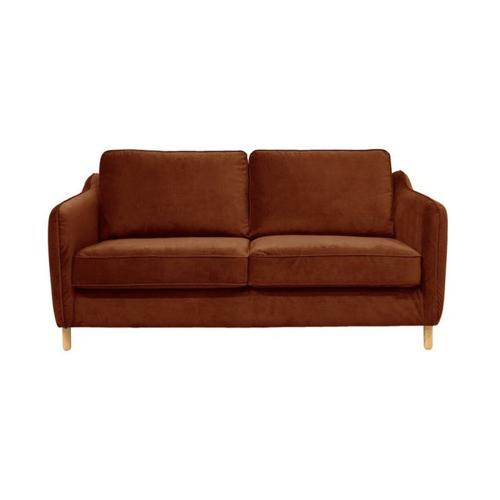 pas cher mobilier decoration couleur Canapé convertible ouverture express 2 places en velours rouille terracotta foncé