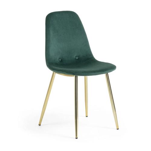 pas cher mobilier decoration couleur Kave Home vert velours avec piètement doré