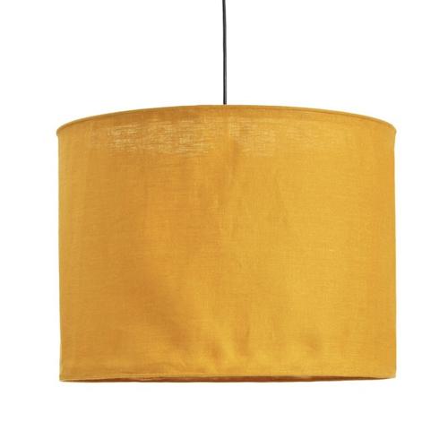 pas cher mobilier decoration couleur Suspension en lin froissé jaune moutarde