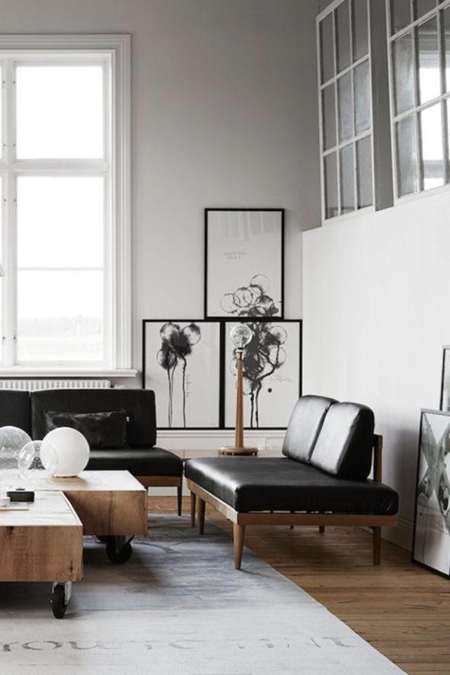 salon canape cuir vintage exemple banquette design mid century modern noir et bois élégant