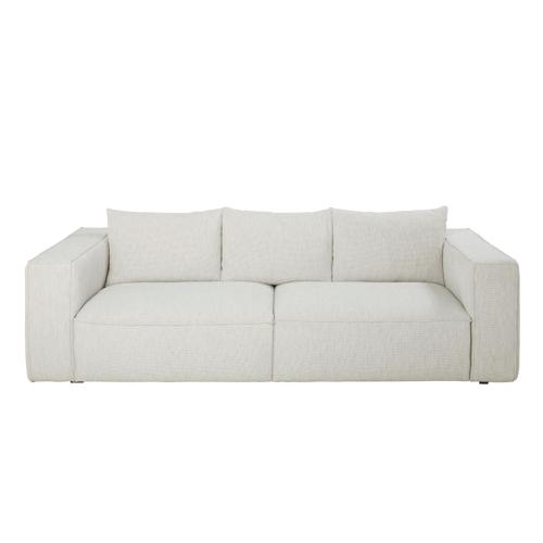 salon cosy meuble accessoires deco Canapé 3 places éco-conçu gris clair chiné